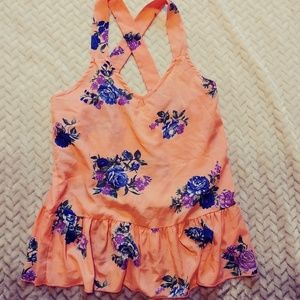 Silky Floral Ruffle Tank Top Blouse Pink Salmon